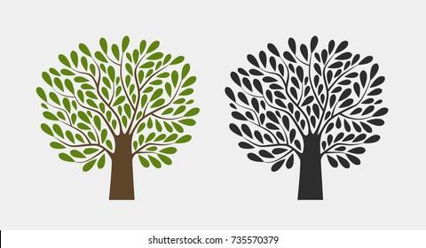 Tree logo or symbol. Nature, garden, ecology, environment icon. Vector illustration