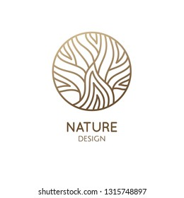 Tree logo template. Abstract outline round icon of trees, garden, wavy lines. Vector emblem for business design, badge for a cosmetology, farming, ecology concept, spa, health and yoga Center.