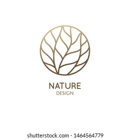 Tree logo template. Abstract outline round icon of tree branches, wavy lines. Tropical plant. Vector emblem for business design, badge for a cosmetology, ecology concept, spa, health and yoga Center.