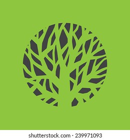 Tree logo template.  Beautiful tree card or background.  Vector illustration.