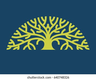 Tree Logo Vector Stylized graphic illustration of mature tree with spreading branches.