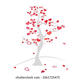 the tree of love. Blossoming love tree with hearts instead of leaves and flowers