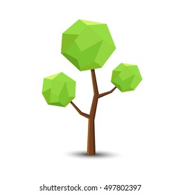 Tree in Low poly Style for you design ,Vector illustration.