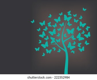 Tree made of butterflies, turquoise and black background