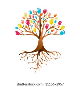 Tree made of colorful human hands with branches and roots. Community help concept, diverse culture group or social project. EPS10 vector.