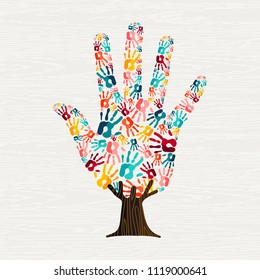 Tree made of colorful human hands in branches. Community help concept, diverse culture group or social project. EPS10 vector.