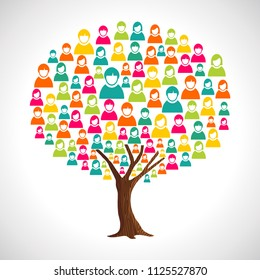 Tree made of diverse people silhouettes. Concept illustration for community help, teamwork project or culture diversity. EPS10 vector.