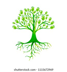 Tree made of green human hands with branches and roots. Nature help concept, Environment group or earth care teamwork. EPS10 vector.
