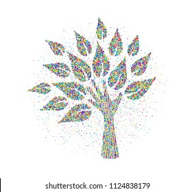 Tree made of human hands in color splash particles. Community help concept or social project. EPS10 vector.