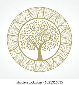 tree mandala, vector graphic design element