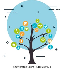 tree with medical healthcare icons