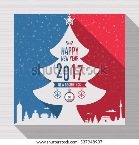 Tree merry christmas happy new year stock vector royalty free tree merry christmas happy new year 2017 greeting card in flag of south korea on m4hsunfo