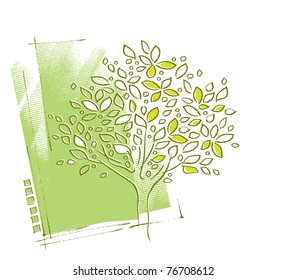 Tree motive, background design (freehand painterly style)