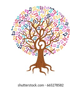 Tree with musical note decoration. Concept illustration for nature help or live music. EPS10 vector.
