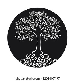tree natural symbol on the white background realistic and handmade round
