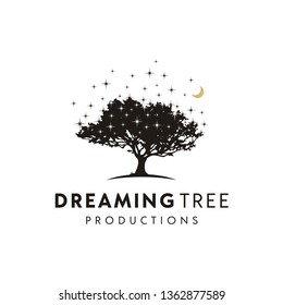 Tree at night with stars and crescent moon logo design