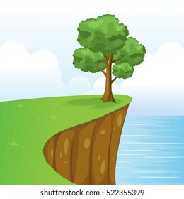 Tree on Cliff Scenery with Grass, Sea, Sky And Clouds.Vector Illustration.