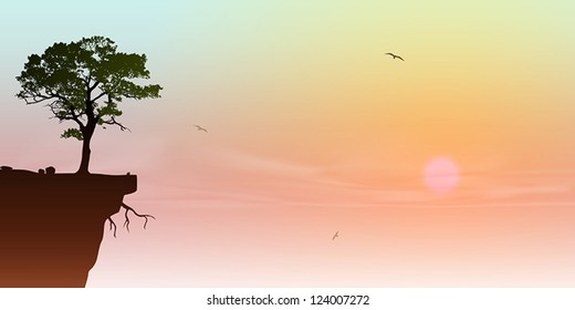 A Tree on a Cliff with Sunrise, Sunset