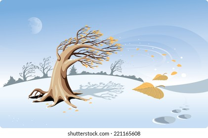 Tree on glade. Fall of the leaves. First snow. Eps8. CMYK. Global colors. Gradients used
