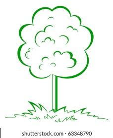 Tree on a green grassy meadow. The symbolical summer image