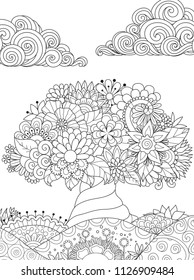Tree on lovely hills and clouds in the sky for coloring book page. Vector illustration
