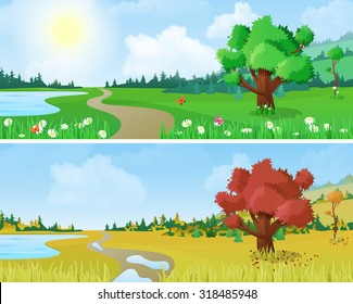 Tree on scenic landscape lake shore road seasons: spring summer autumn. Floral nature grass background changing seasons set collection.