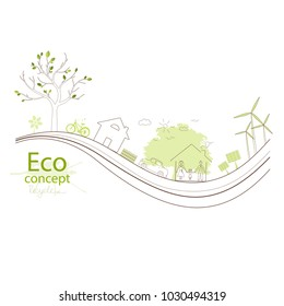 Tree on a white background. Creative drawing ecological concepts, With happy family stories, The concept of ecology, to save the planet. Environmentally friendly world. Simple modern.