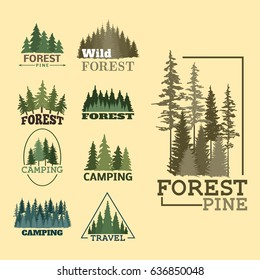 Tree outdoor travel green silhouette forest badge coniferous natural logo badge tops pine spruce vector.