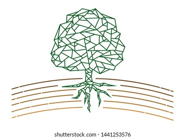 Tree outline with soil line art. Edtaible Clip Art.