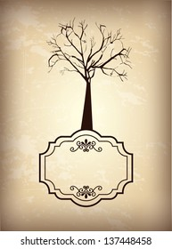 Tree over vintage and brown background vector illustration