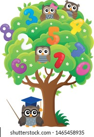 Tree with owls and numbers theme 1 - eps10 vector illustration.