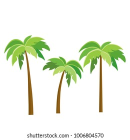 Tree Palm Beach Illustrator Isolated icon. Cartoon style. Game Content