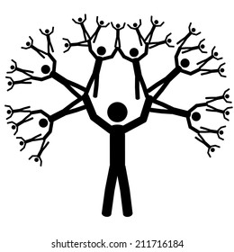 The tree of the people. It is a stick figure vector. EPS10
