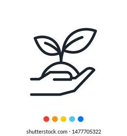 Tree planting icon,Sapling icon,Vector and Illustration.