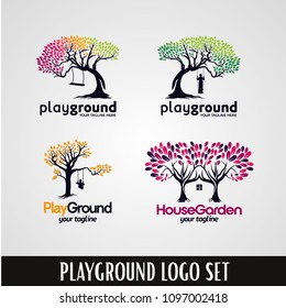 Tree Playground Park Logo Designs Template Set