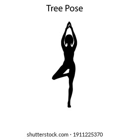 Tree pose yoga workout silhouette on the white background. Vector illustration