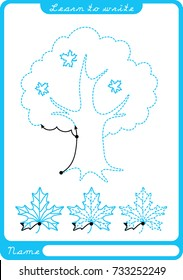 Tree. Preschool worksheet for practicing fine motor skills - tracing dashed lines. Tracing Worksheet.  Illustration and vector outline - A4 paper ready to print.