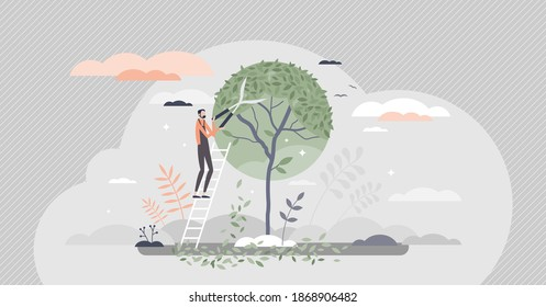 Tree pruning and gardening as tree trimming or shaping tiny person concept. Professional canopy crown forming with gardeners scissors as pruner occupation work visualization scene vector illustration.