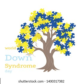 tree with puzzles color down syndrome. World Down Syndrome Day.