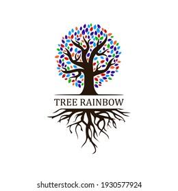 tree rainbow logo design, root vector - Tree of life logo design inspiration isolated on white background