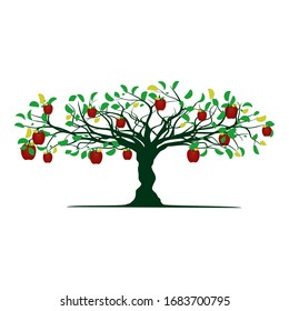 tree and red apple vector illustration