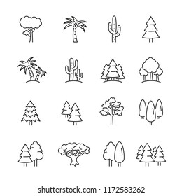 Tree related icons: thin vector icon set, black and white kit