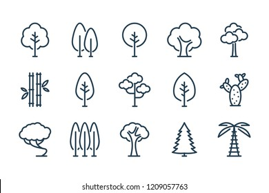 Tree related line icon set. Different trees vector collection.