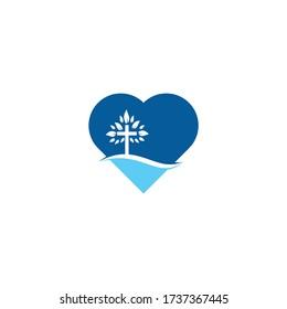 Tree religious cross symbol icon vector design. Cross tree heart shape concept logo design.
