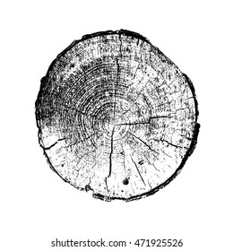 Tree ring, log, wood trunk. Black and white. Vector illustration EPS 10 isolated on white background