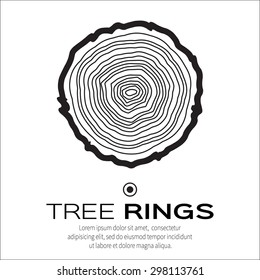 Tree rings background and saw cut tree trunk vector, forestry and sawmill. White background.
