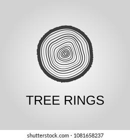 Tree rings icon. Tree rings symbol. Flat design. Stock - Vector illustration