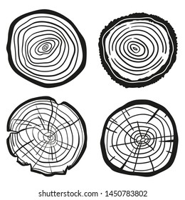 Tree rings on white. Wood cross section. Print for polygraphy, banners, posters and other. Black and white illustration for your design