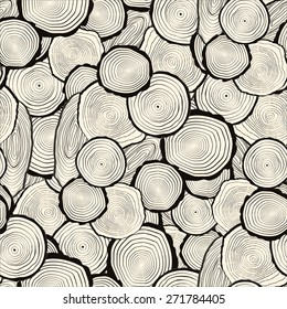 Tree rings saw cut tree trunk background. Seamless wallpaper. Vector