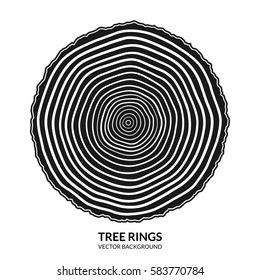 Tree rings and saw cut tree trunk symbol or logo isolated on white background. Vector illustration